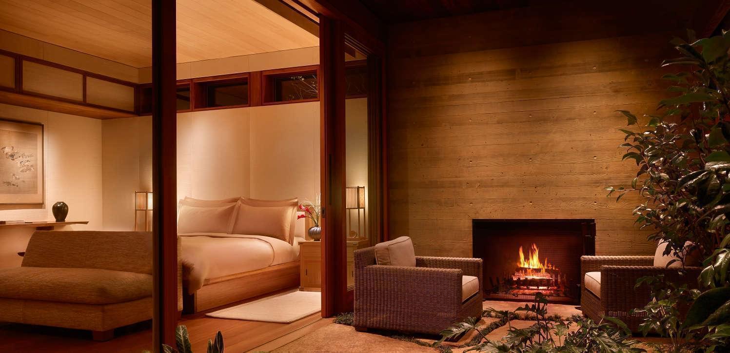 Luxury hotel in Malibu garden fireplace