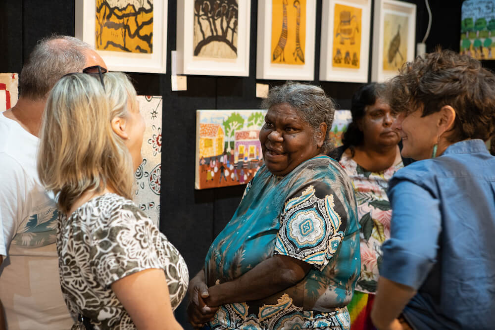 Tangentyere Artists and Yarrenyty Arltere Artists booth at the 2019 Darwin Aboriginal Art Fair © Dylan Buckee