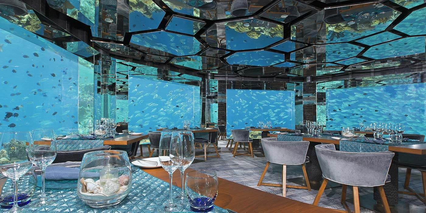 Underwater Sea Restaurant at Anantara Kihavah Villas