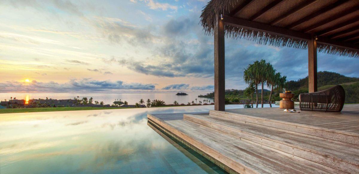 Sunset over Residence pool, Six Senses Fiji