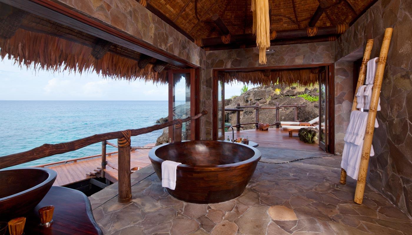 Overwater Villa bathroom at Laucala Island