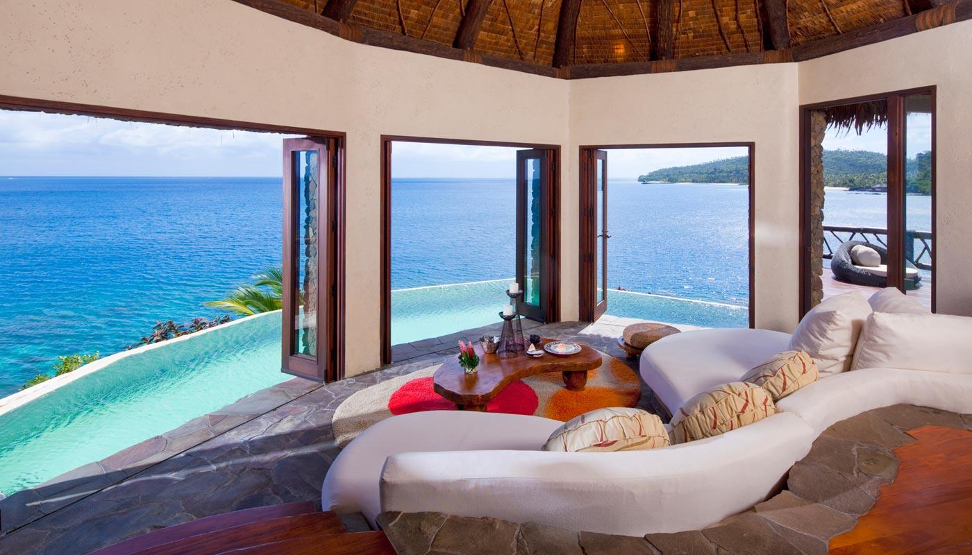 Peninsula Villa lounge room at Laucala Island
