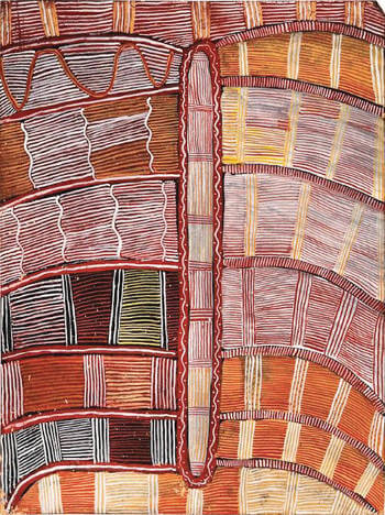 Mick Namarari Tjapaltjarri, Sandhill Dreaming, 1972, 46 x 34 cm, sold by D'Lan Davidson in 2018 for AU$140,000, image supplied by D'Lan Davidson indigenous art