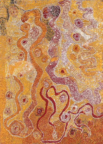 Artist's Country (Yirrawilli), 1989, 120 x 85 cm, sold by Mossgreen Auctions in 2015 for $48,800 AUD. Image supplied by D'Lan Davidson.