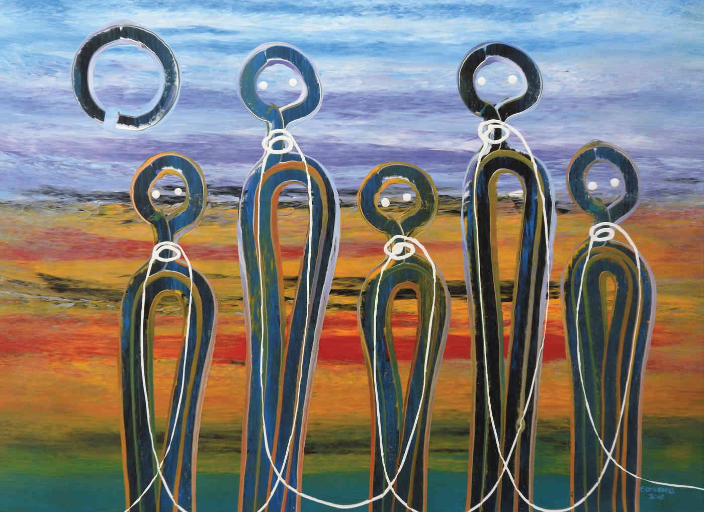Fiona Omeenyo, Connection to Country, Acrylic on Canvas, 75cm x 102 cm indigenous art