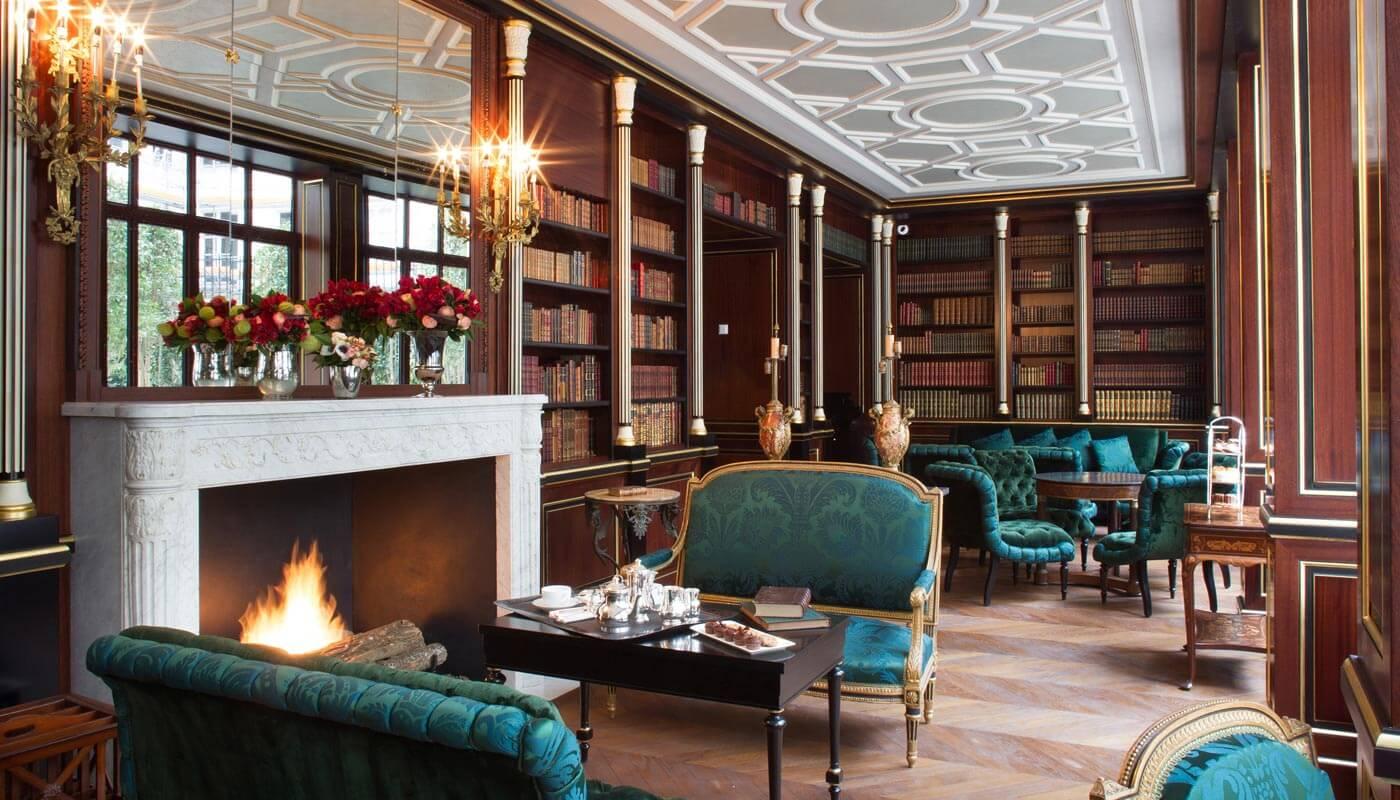 Library at La Réserve Paris Hotel and Spa