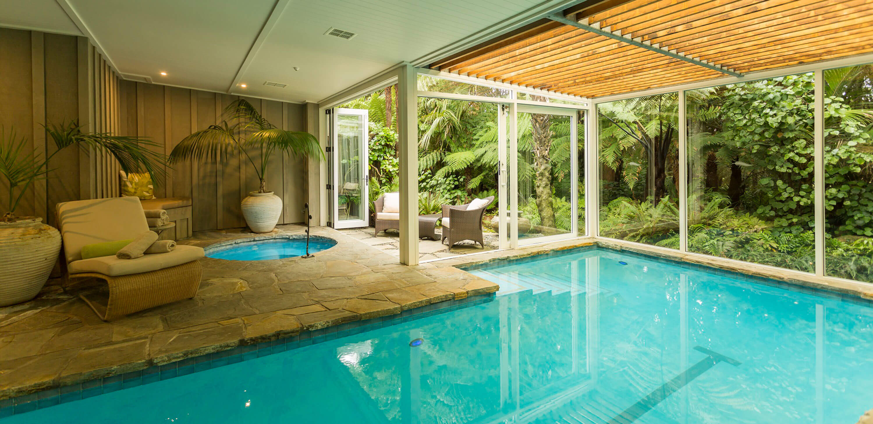 Pool facilities at Kauri Cliffs