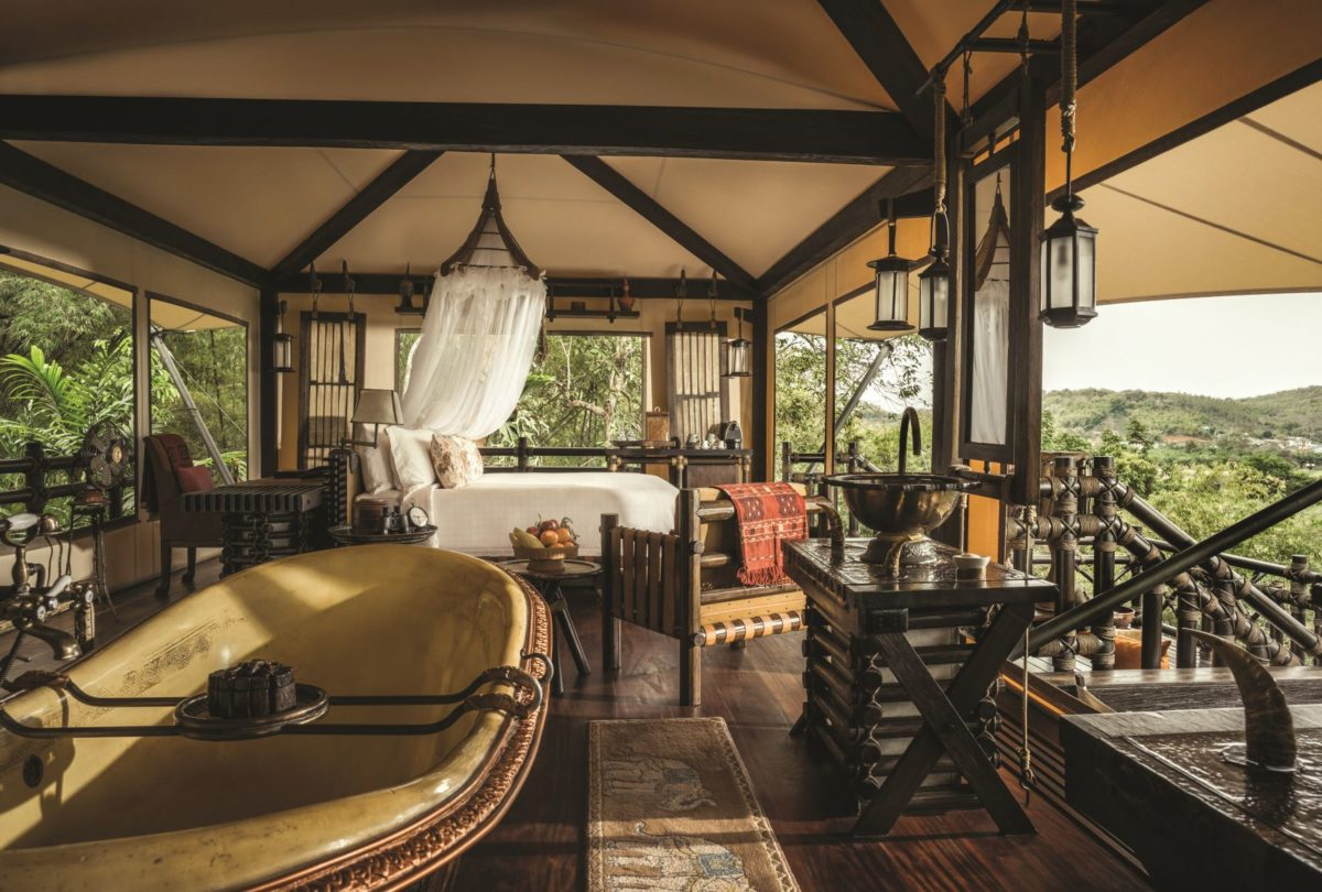 luxury camping Four Seasons Tented Camp Golden Triangle, Thailand