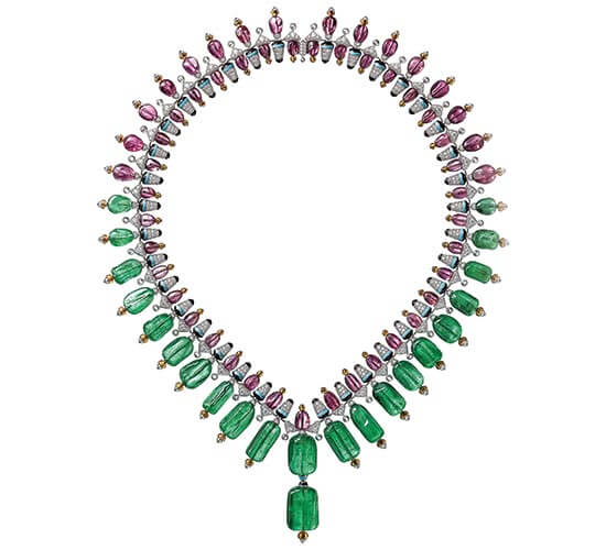 Chromaphonia necklace with emerald beads, POA