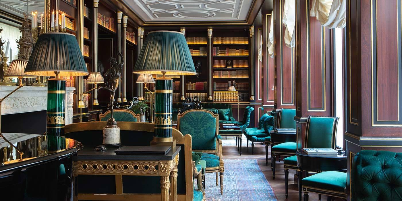 Library at La Réserve Paris
