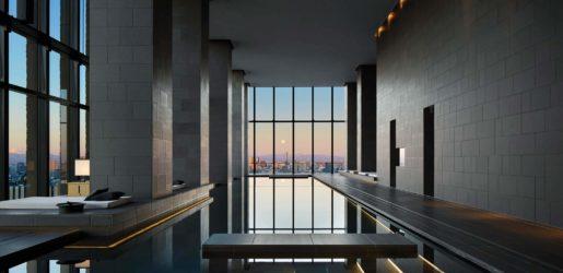 The serene spa at Aman Tokyo has views across the city