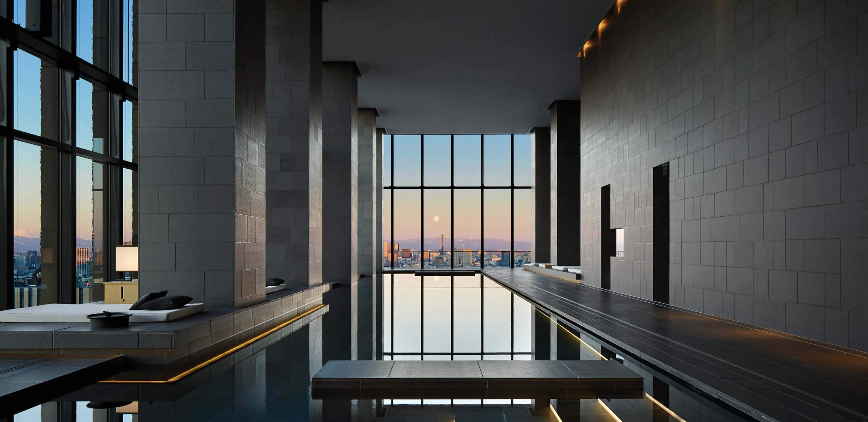 The serene spa at Aman Tokyo has views across the city