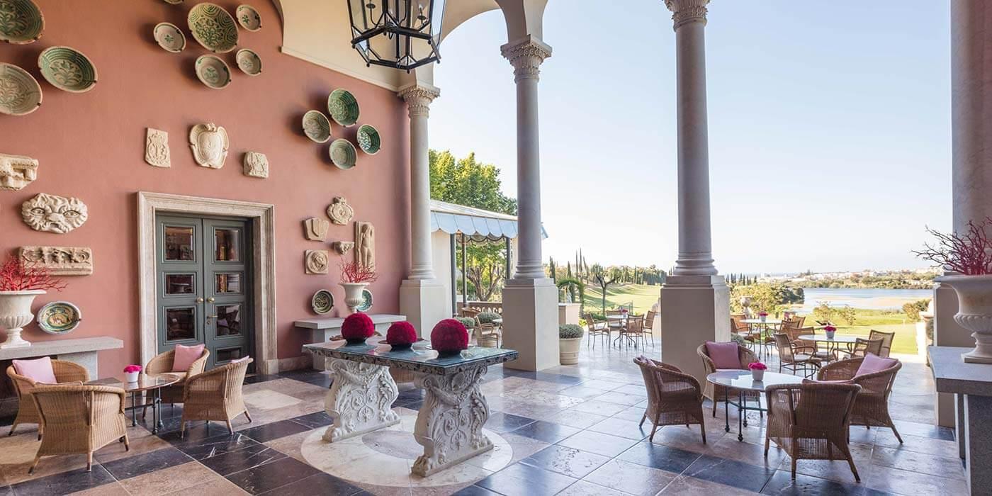 Terrace view at Anantara Villa Padierna Palace Benahavis Marbella Resort