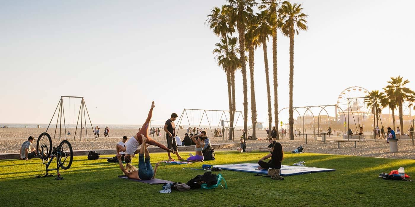 Exercising on Santa Monica beach