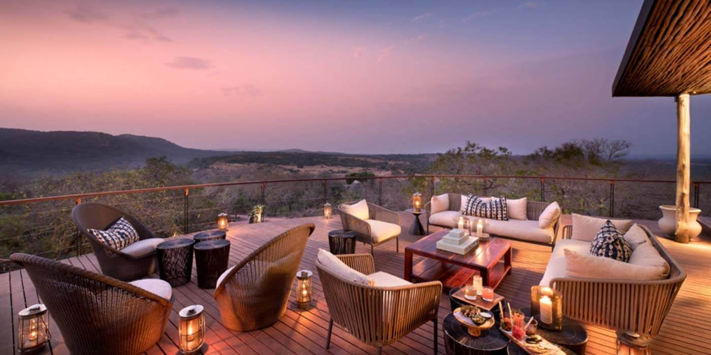 Lodge Deck with views at andBeyond Phinda Mountain Lodge