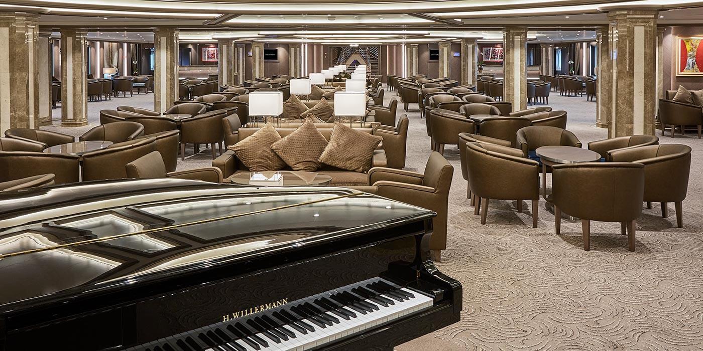 Piano room on board a Silversea ship