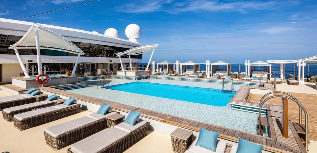 Sun deck and pool onboard Genting Dream