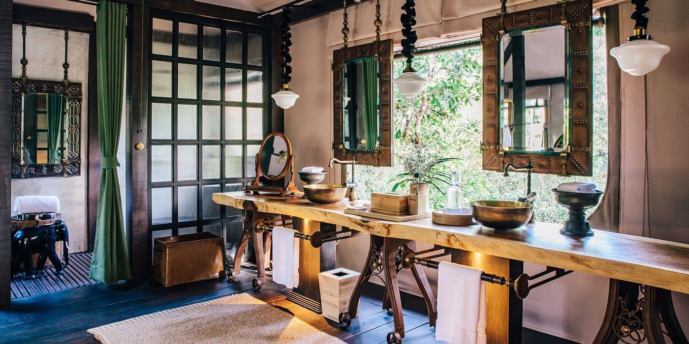 Bathroom in the tents at Shinta Mani Wild