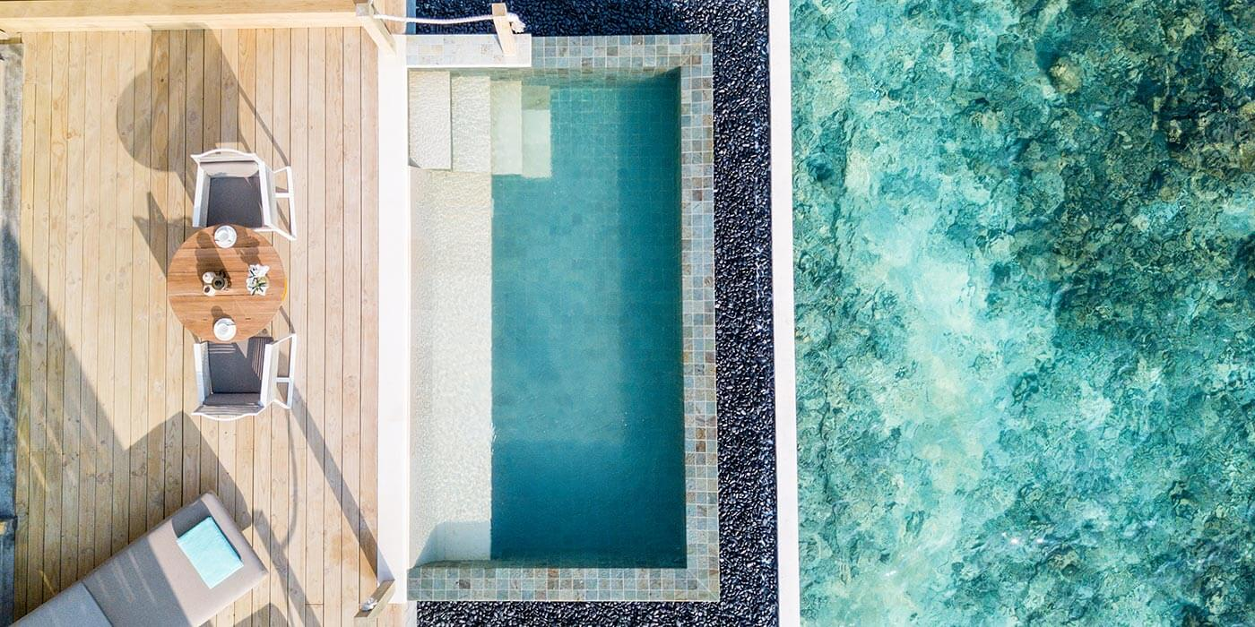 Outdoor Pool Deck in the Lagoon Pool Villa, InterContinental Maldives Maamunagau Resort
