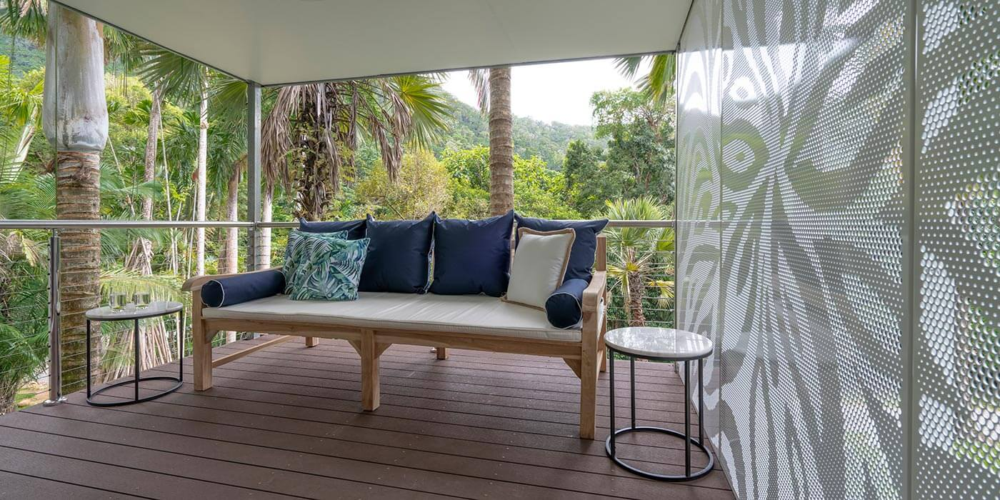 Screened seating area at mist at Cape Tribulation