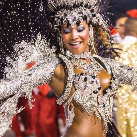 Samba School parade in Sambodromo. Estacio de Sa during festival on february 09, 2013 in Rio de Janeiro. - Image