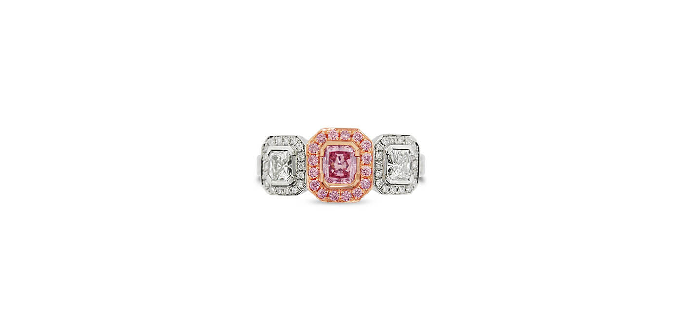 0.40 carat Platinum and 18 carat Rose Gold Radiant Cut Argyle Pink Diamond Ring