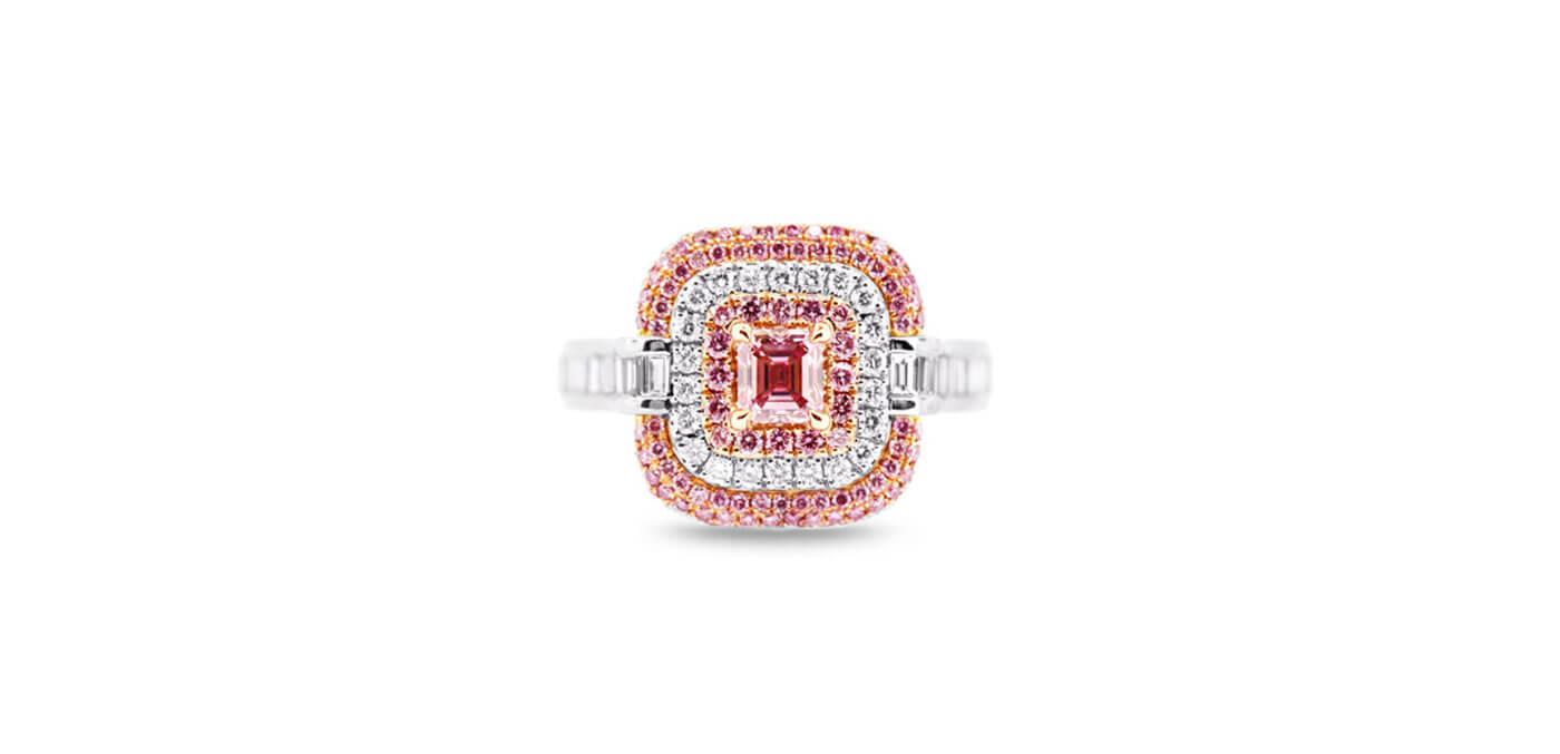 0.43 carat Platinum and 18 carat Rose Gold Radiant Cut Argyle Pink Diamond Halo Ring