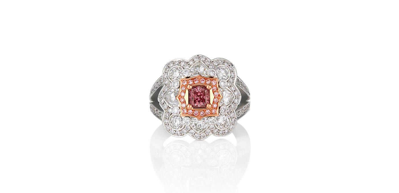 0.50 carats Platinum Argyle Pink Diamond and White Princess Cut Cluster Ring