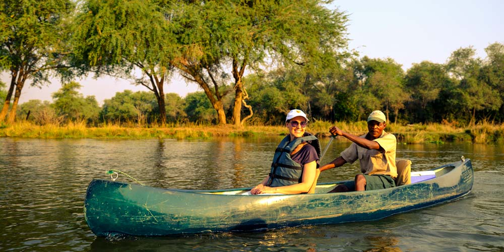 Zora canoeing on the lower Zambezi