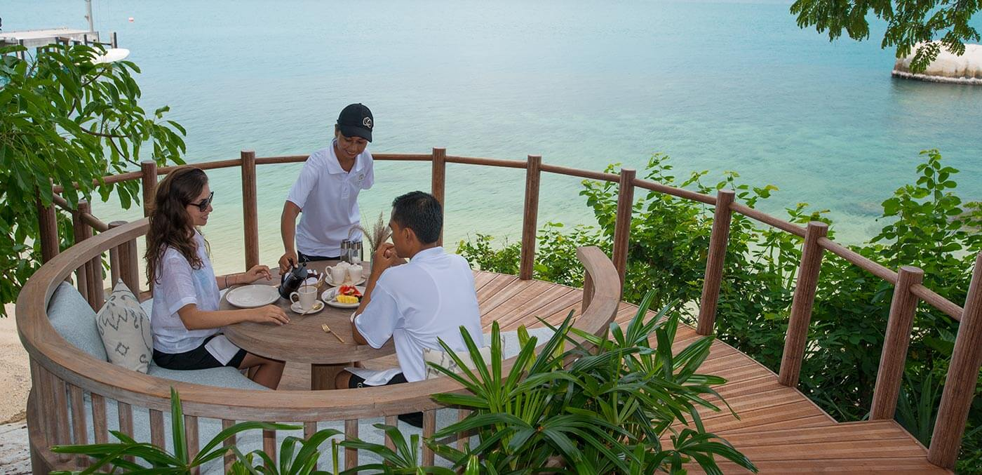 Dining view at Cempedak Private Island