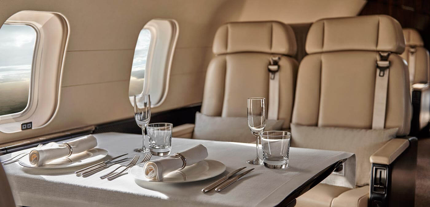 Dinner on board Aman Private Jet