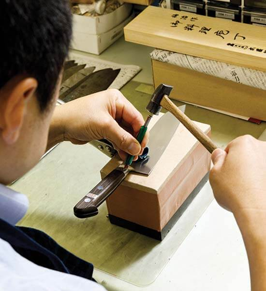 Knives are handcrafted at Nihonbashi Kiya