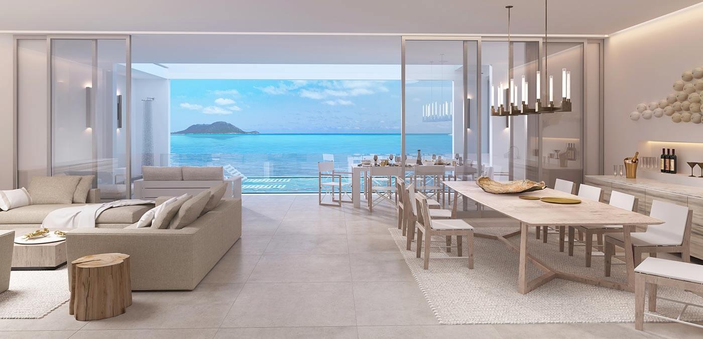 Render of Hayman Beach House Interior, Hayman Island by InterContinental