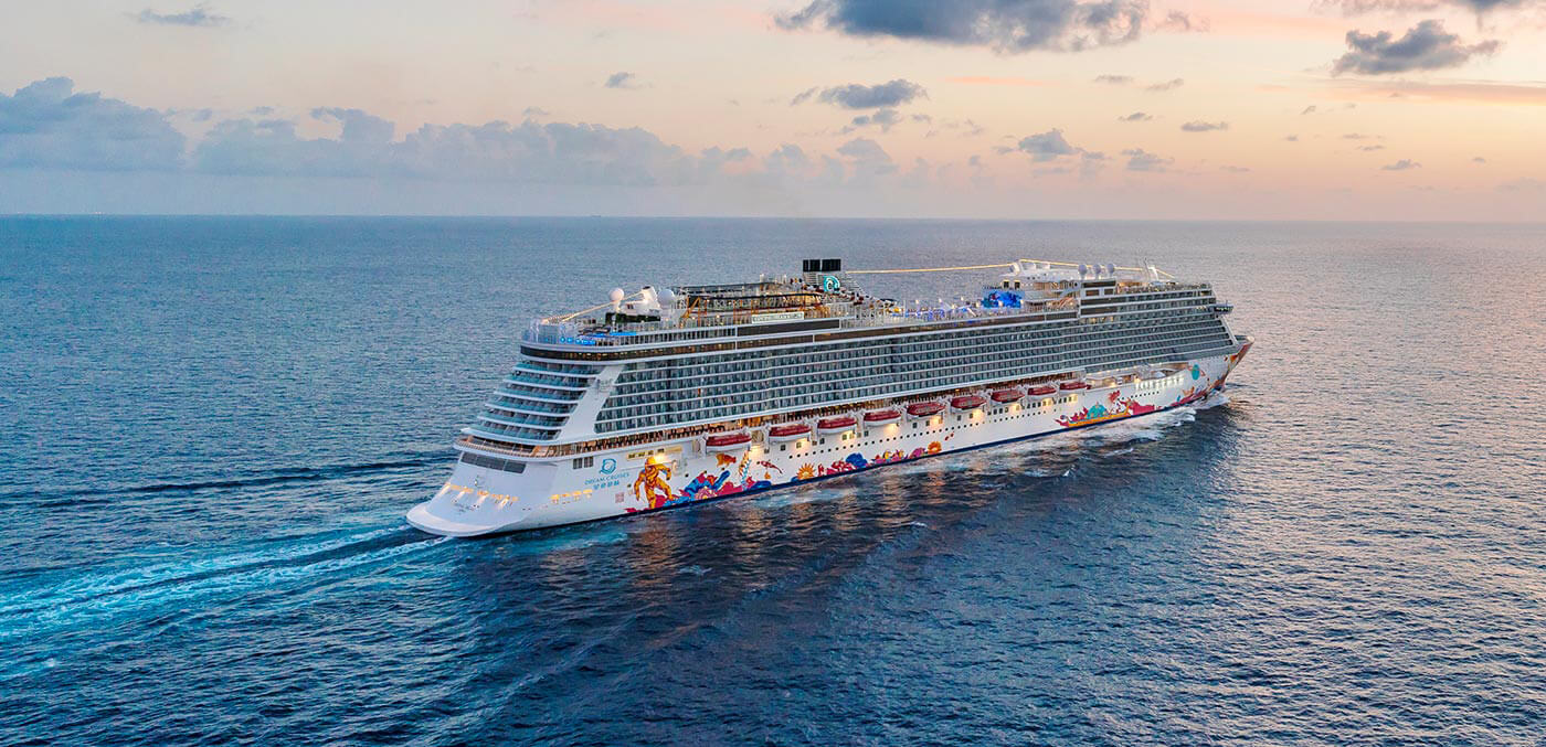 Aerial of Genting Dream at sunset