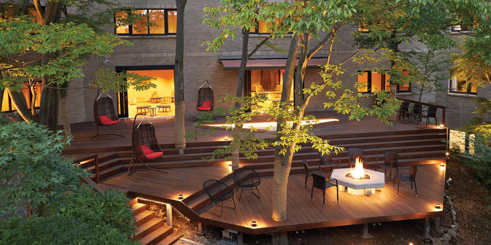 Hakone Yutowa's deck is a serene space to relax by the fire