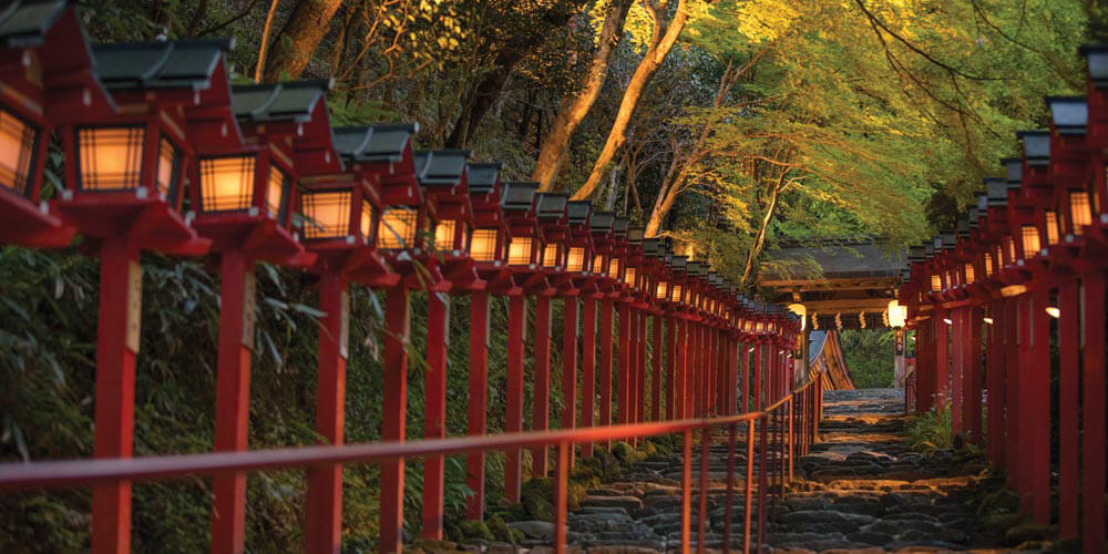 Kyoto's beautiful Kifune Shrine is surrounded by maple trees