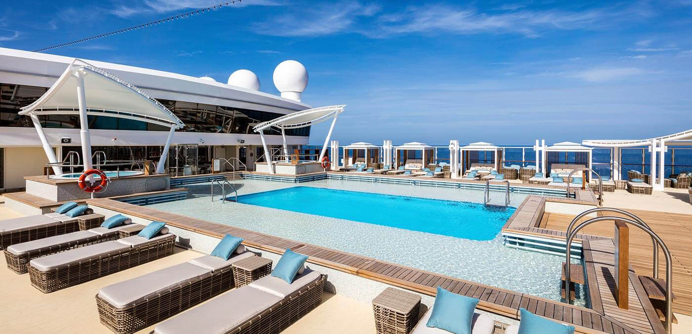 Sun deck and pool onboard The Palace