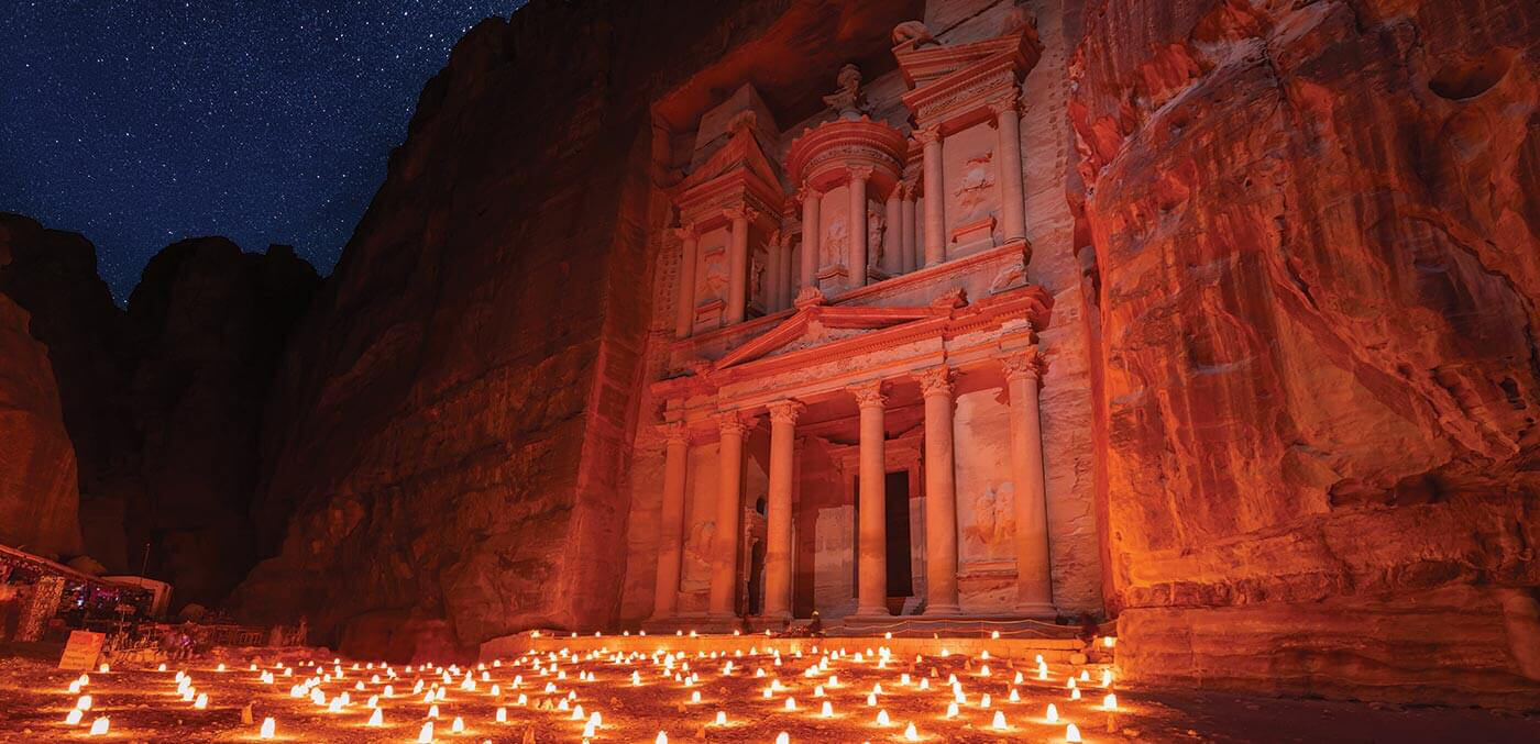 Candles set the Treasury aglow at Petra by Night, held every Monday, Wednesday and Thursday evening