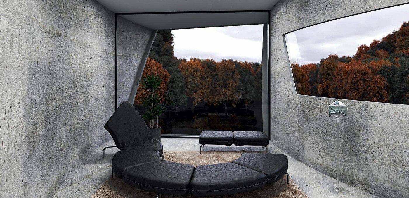 Concrete House seated area