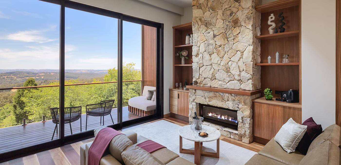 Living area with a view of Sequoia Lodge