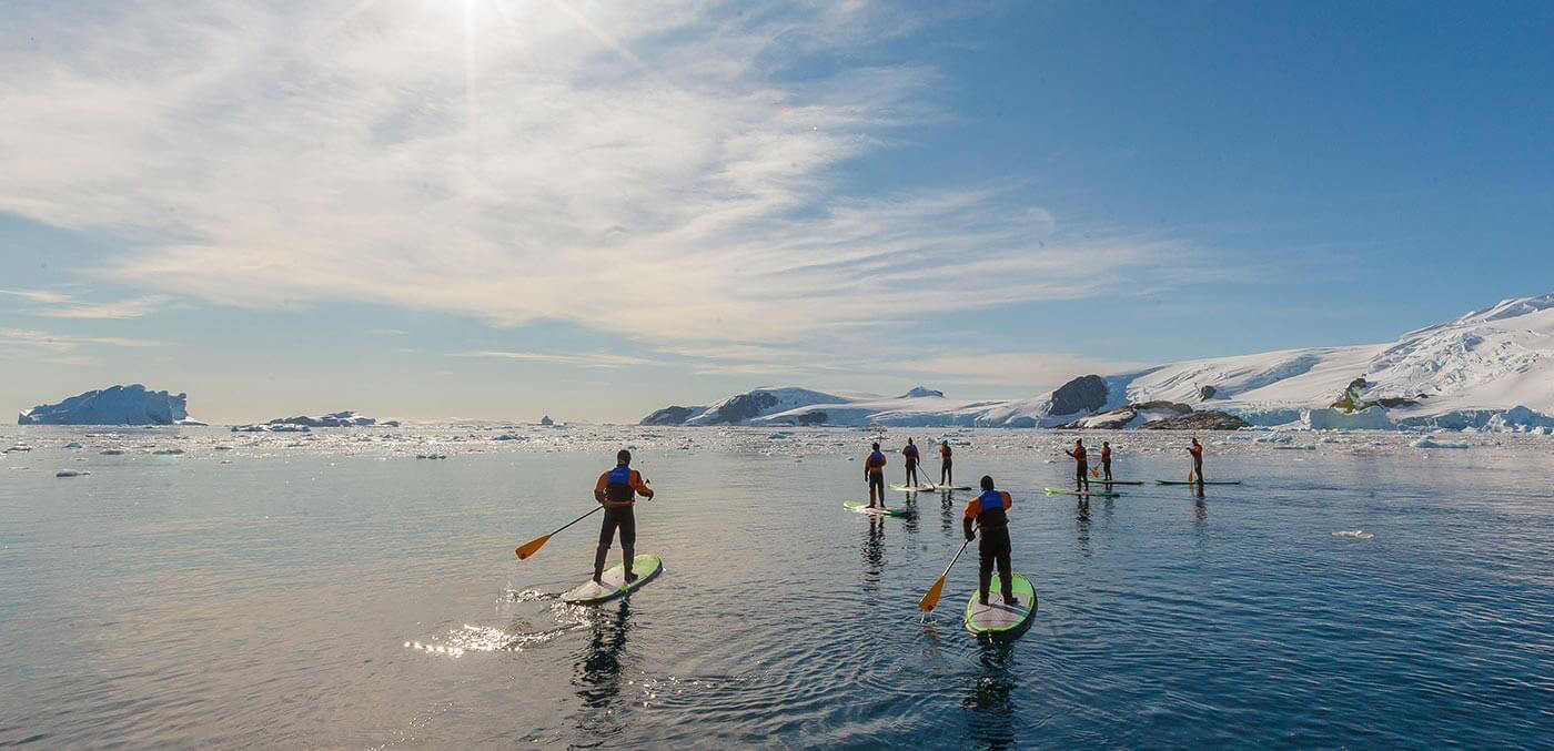 Stand up paddle boarding in Antarctica