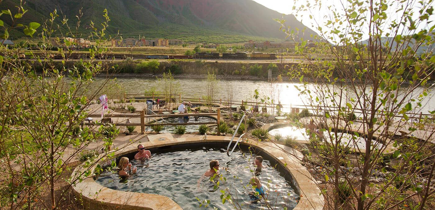 Soaking pools at the Iron Mountain Hot Springs