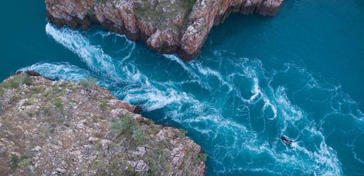 Aerial of the Horizontal Waterfall, Talbot Bay and McLarty Range