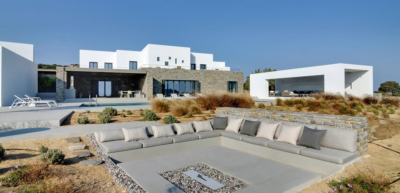 The firepit terrace at Paros DY