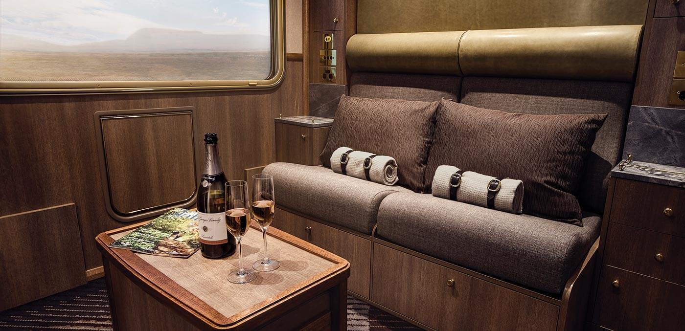Champagne in Journey Beyond's Chairman's Carriage
