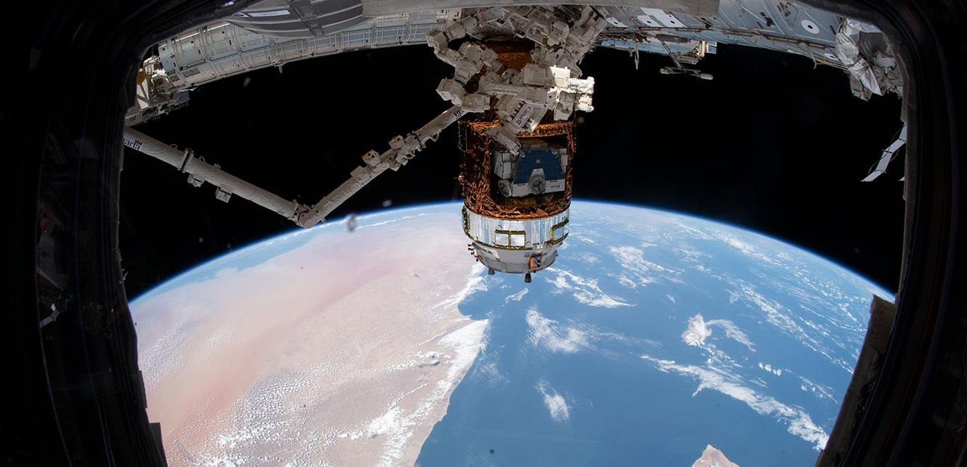 Japan's HTV 8 cargo craft is attached to The International Space Station