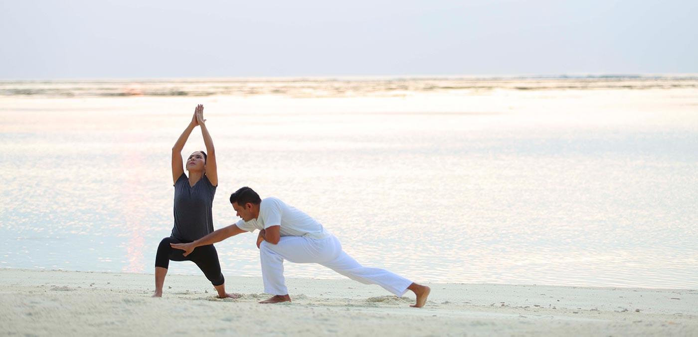 Sunrise yoga at Gili Lankanfushi