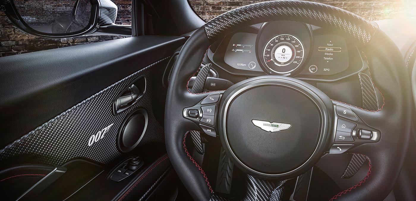Steering wheel detial of the DBS Superleggera 077 Edition