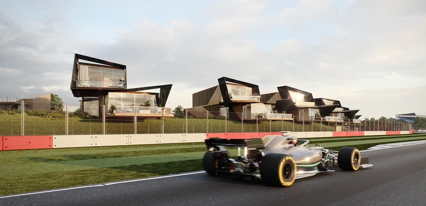 Trackside Residence Front View at Escapade Silverstone