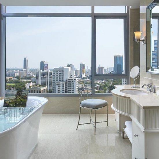 Bathroom views at Oriental Residence Bangkok